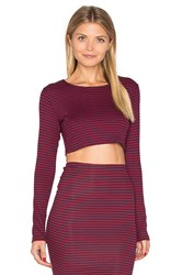 Lisakai Striped Long Sleeve Crop Top Red