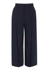 Topshop Wide Pinstripe Cropped Trousers Navy Blue