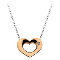 Hot Diamonds Open Heart Sterling Silver Diamond Pendant Necklace Rose Gold