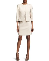 Albert Nipon Belted Sheath Dress And Jacket Set Brown