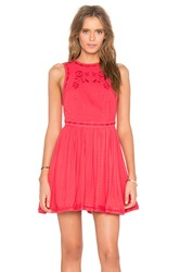 Free People Delightful Birds Of Feather Dress Red