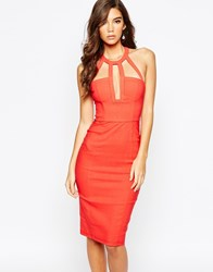 Rare London Strap Detail Plunge Midi Dress Red