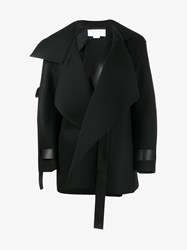 Esteban Cortazar Virgin Wool Blend And Leather Open Coat Black Peat