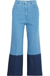 Stella Mccartney Cropped High Rise Wide Leg Jeans Mid Denim