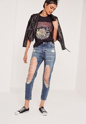 Missguided High Rise Open Slim Leg Jeans Marbled Blue Blue