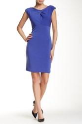 Muse Ring Trimmed Neck Sheath Dress Blue
