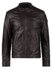 United Colors Of Benetton Faux Leather Jacket Brown