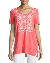 Jwla By Johnny Was Macie Embroidered Flounce Hem Top Candyland