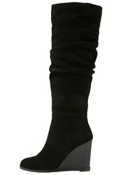 French Connection Chevron Wedge Boots Black