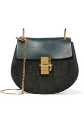 Chloe Drew Small Leather And Suede Shoulder Bag Forest Green