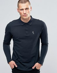 Religion Long Sleeve Pique Polo Navy White Skel