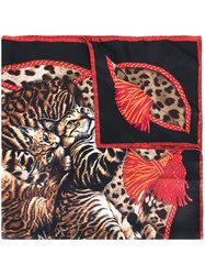 Dolce And Gabbana Bengal Cat Print Scarf Black