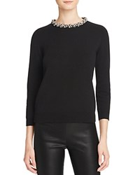 Bloomingdale's C By Embellished Neck Cashmere Sweater Black