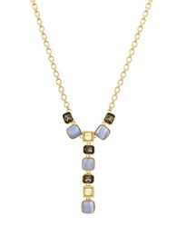 Cole Haan Swarovski Golden Shadow Crystal Semi Precious Blue Lace Agate And Brass Pendant Necklace