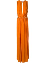 Jay Ahr Gold Tone Detail Sleeveless Dress Yellow And Orange