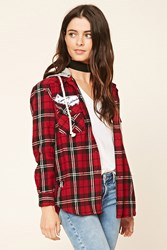 Forever 21 Patched Hooded Flannel Shirt
