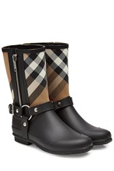 Burberry Shoes And Accessories Rubber Rain Boots With Checked Fabric Black