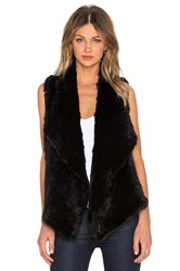525 America Envelope Rabbit Fur Vest Black