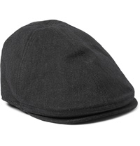 Dolce And Gabbana Herringbone Stretch Cotton Flat Cap Gray