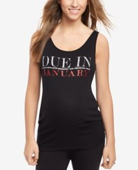Motherhood Maternity Ribbed Graphic Tank Garnet Glitter
