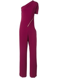 Stella Mccartney 'Elisa' Cady One Shoulder Jumpsuit Pink And Purple