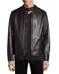Andrew Marc New York Windsor Leather Racer Jacket Dark Brown