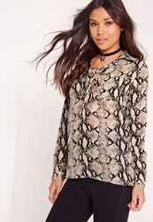 Missguided Snake Print Long Sleeve Lace Up Blouse Multi