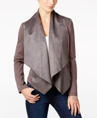 Kut From The Kloth Faux Leather Trim Draped Jacket Pavement