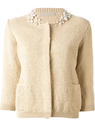 Ermanno Scervino Embellished Collar Cardigan Nude And Neutrals