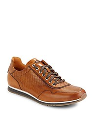 Magnanni Perforated Leather Sneakers Cognac