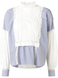 Sacai Striped And Lace Panelled Top Blue