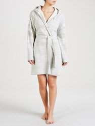 John Lewis Stripe Jersey Hooded Robe Grey