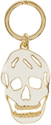 Alexander Mcqueen White And Gold Cut Out Skull Keychain