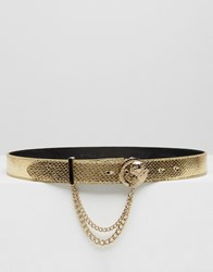 Versace Jeans Gold Belt With Gold Metal Buckle Gold