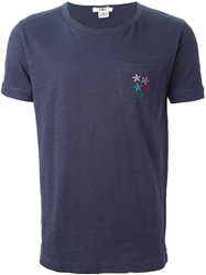 Ymc Flower Embroidered Pocket T Shirt Blue