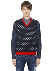 Dsquared Polka Dot Cotton Sweater Vest Navy Red