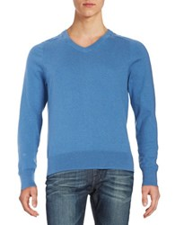 Brooks Brothers Cotton V Neck Sweater Blue