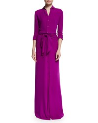 Ralph Lauren Black Label Long Sleeve Button Front Shirt Gown Berry Pink