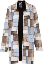 Norma Kamali Reversible Patchwork Effect Stretch Jersey Coat Multi
