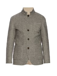 Brunello Cucinelli Wool And Cashmere Blend Herringbone Jacket Grey