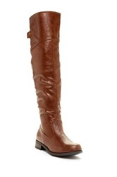 West Blvd Shoes Taipei Faux Leather Thigh High Riding Boot Brown