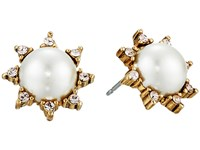 Oscar De La Renta Pearl Filigree Stud P Earrings Light Gold