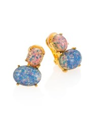 Kenneth Jay Lane Pink And Blue Opal Clip On Earrings Gold Opal