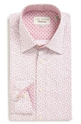 Ted Baker Men's Big And Tall London 'Filmore' Trim Fit Print Dress Shirt Red