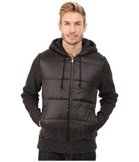 Dkny Long Sleeve Quilted Front Full Zip Hooded Sweater Black Men's Sweater
