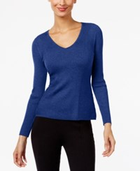 Inc International Concepts Ribbed V Neck Sweater Only At Macy's Goddess Blue