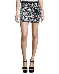 Haute Hippie Embellished Cheetah Mini Skirt Black White