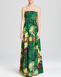 Tracy Reese Gown Strapless Botanical Jacquard Cactus Flower