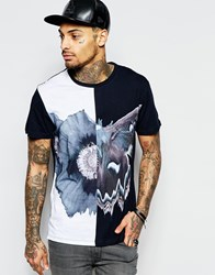 Religion T Shirt With Moth Flower Print White