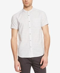 Kenneth Cole New York Men's Yarn Dye Check Mandarin Collar Short Sleeve Shirt White Combo